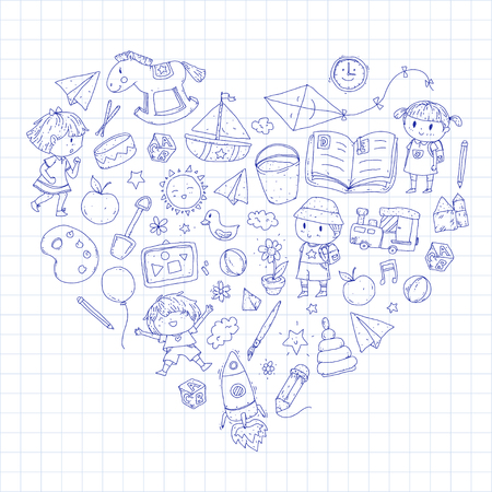 Nursery Preschool Kids drawing doodle icons Pattern background - playing and studying illustrations forming a heart shape