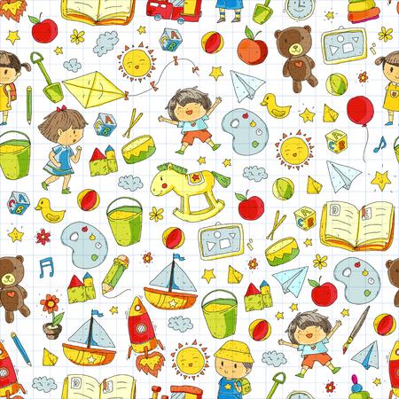 子供との就学前の学校教育落書きパターン子供たちが遊び、勉強男の子と女の子の絵のアイコンスペース、冒険、探検、想像力の概念  イラスト・ベクター素材