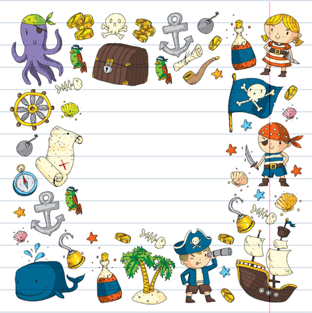 Hand drawn kindergarten pirate party icons.