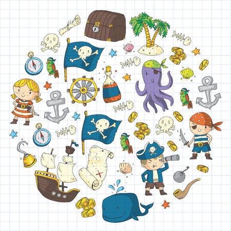 Pirate adventures Pirate party Kindergarten pirate party for children Adventure, treasure, pirates, octopus, whale, ship Kids drawing pattern 版權商用圖片 - 91276213