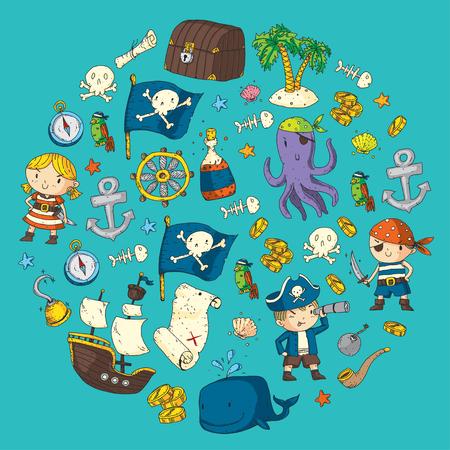 海賊アドベンチャー海賊パーティー子供のための幼稚園の海賊パーティーアドベンチャー、宝物、海賊、タコ、クジラ、船キッズ描画パターン 写真素材 - 91276215