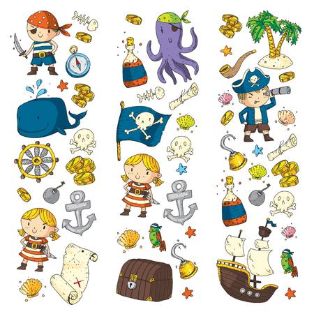 Piratenavonturen Piratenfeest Kindergarten piratenfeest voor kinderen Avontuur, schat, piraten, octopus, walvis, schip Kinderen tekenen vector patroon voor banners, folders, brochure, uitnodigingen