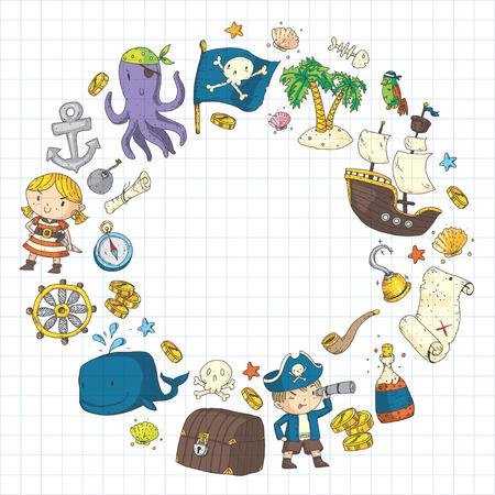Piratenavonturen Piratenfeest Kleuterschool piratenfeest voor kinderen Avontuur, schatten, piraten, octopus, walvis, schip Kinderen tekenen vector patroon voor banners, folders, brochure, uitnodigingen