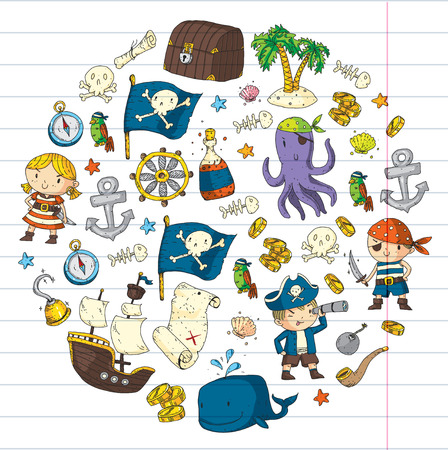 Pirate adventures Pirate party Kindergarten pirate party for children Adventure, treasure, pirates, octopus, whale, ship Kids drawing vector pattern for banners, leaflets, brochure, invitations Standard-Bild - 91593758
