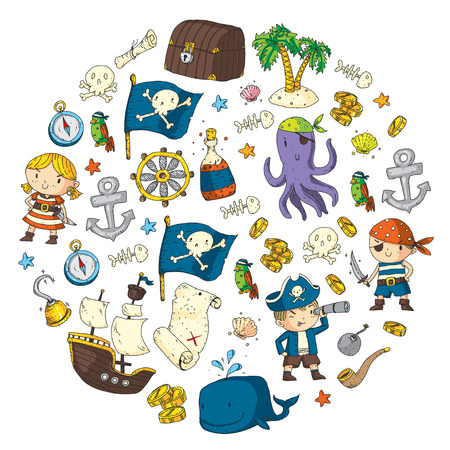 Pirate adventures Pirate party Kindergarten pirate party for children Adventure, treasure, pirates, octopus, whale, ship Kids drawing vector pattern for banners, leaflets, brochure, invitations Archivio Fotografico