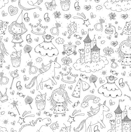 Cute princess Icons set with unicorn, dragon Girl wallpaper Baby shower Invitation Kindergarten, preschool, nursery, birthday, school party Illustration
