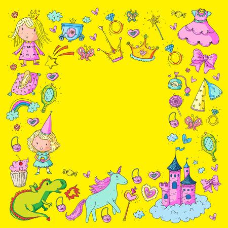 Big Bundle cute collection of beautiful princesses as border design.