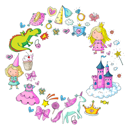 Big Bundle cute collection of beautiful princesses in circle pattern.