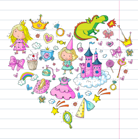 Big Bundle cute collection of beautiful princesses in heart pattern.