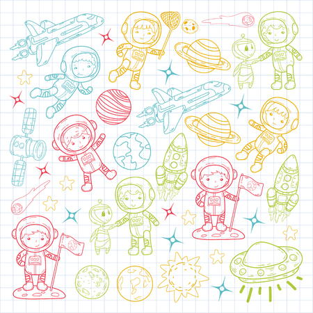 Space kindergarten, school astronomy lesson. Children, doodle kids illustration. Ufo, alien, moon surface, earth and more.