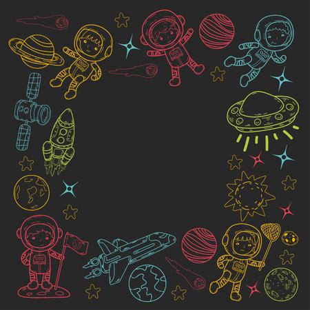 Space Kindergarten theme vector illustration