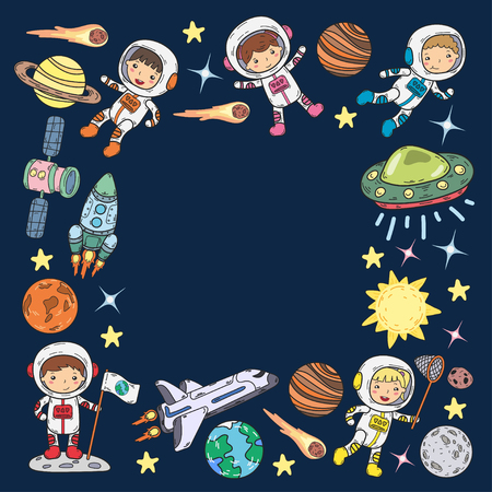 Space Kindergarten theme vector illustration