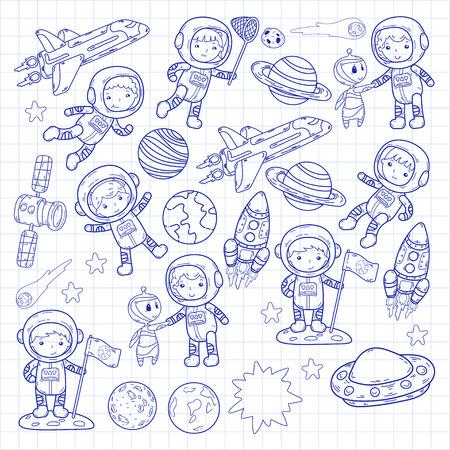 Ruimte kleuterschool thema vectorillustratie