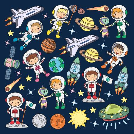 Space Kindergarten Thema Vektor-Illustration Standard-Bild - 92029211