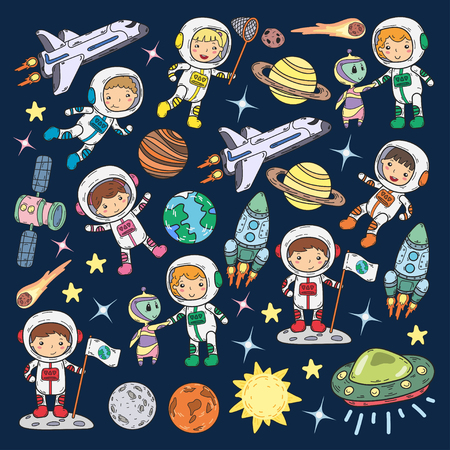 Space Kindergarten theme vector illustration 스톡 콘텐츠 - 92029211
