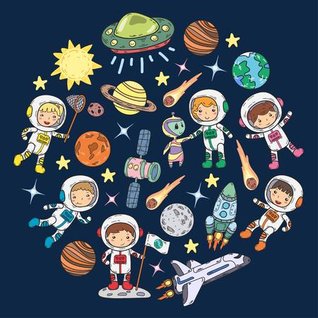 Space Kindergarten, school Astronomy lesson Children, doodle kids illustration Ufo, alien, maanoppervlak, aarde, Jupiter, Saturnus, Mars Vector iconen