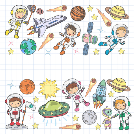 Space Kindergarten, school Astronomy lesson Children, doodle kids illustration Ufo, alien, Moon surface, Earth, Jupiter, Saturn, Mars Vector icons