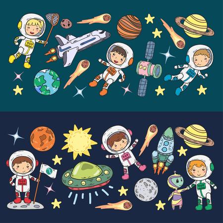 Espace maternelle, école leçon d'astronomie enfants, illustration d'enfants doodle Ufo, extraterrestre, surface de la lune, terre, Jupiter, Saturne, icônes vectorielles Mars Banque d'images - 92023187