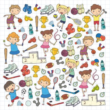 Meninos e meninas jogando ilustrações de esportes Foto de archivo - 92021726