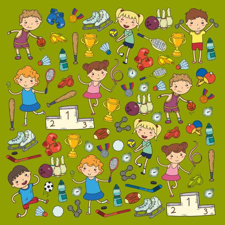 Meninos e meninas jogando ilustrações de esportes Foto de archivo - 92021728