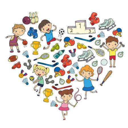 Niños y niñas jugando deportes ilustraciones Fitness, fútbol, ??fútbol, ??yoga, tenis, baloncesto, voleibol de hockey Foto de archivo - 92023000
