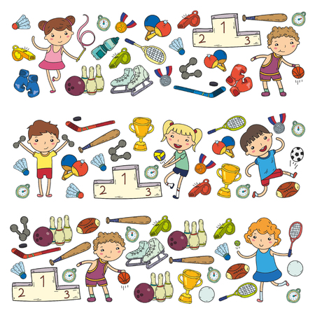 Boys and girls playing sports illustrations Fitness, football, soccer, yoga, tennis, basketball hockey volleyball