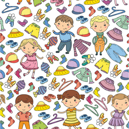 Set of Children clothing. Vector icons. Kindergarten. Nursery. Atelier. School clothing. Summer clothing. Kids store seamless pattern
