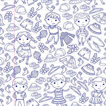 Set of Children clothing. Vector icons. Kindergarten. Nursery. Atelier. School clothing. Summer clothing. Kids store seamless pattern