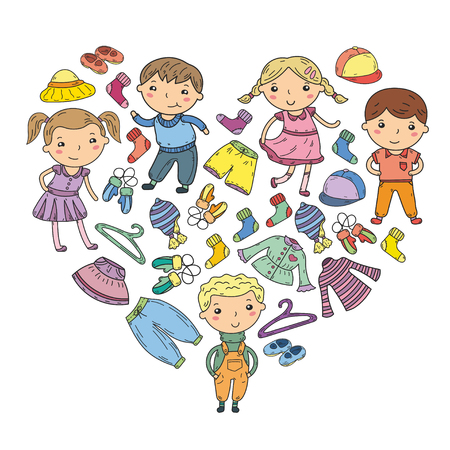 Set kinderkleding. Vector iconen. Kleuterschool. Kwekerij. Atelier. Schoolkleding. Zomer kleding. Kinder winkel Stock Illustratie