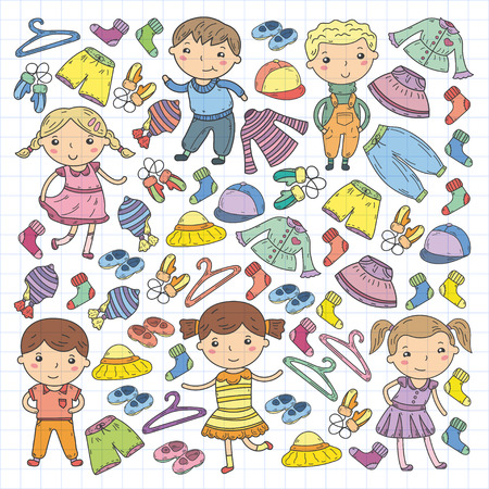 Set of Children clothing. Vector icons. Nursery, Atelier, School clothing, Summer clothing, Kids store