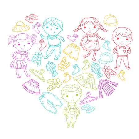 Set of Children clothing. Vector icons