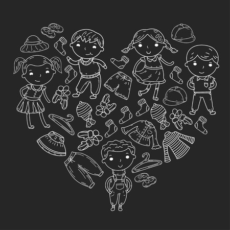 Set van kinderkleding in hartvorm. Vector iconen Stock Illustratie