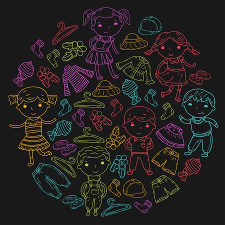 Set of Children clothing. Vector icons. Kindergarten. Nursery. Atelier. School clothing. Summer clothing. Kids store