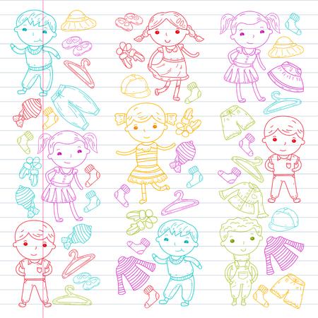 Set van kinderkleding pictogram. Stockfoto - 92180173