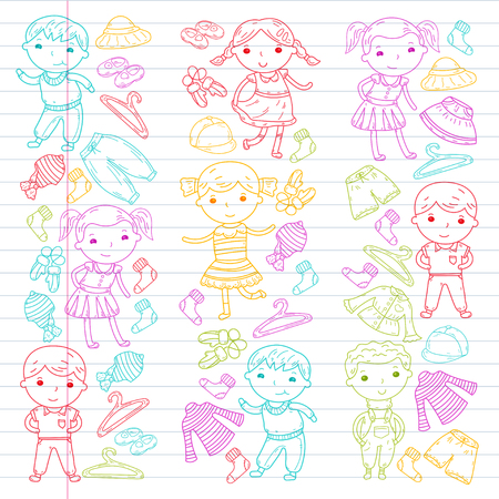Set of kids clothing icon. Illustration