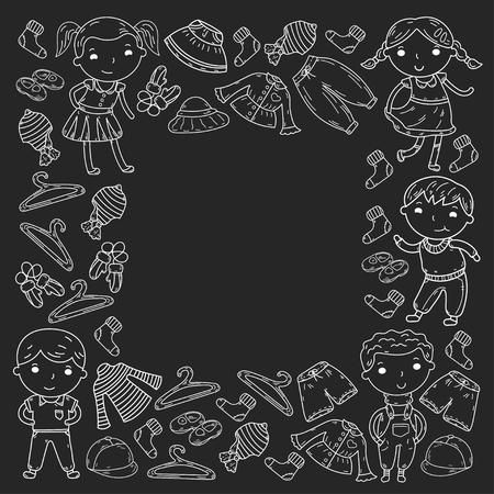 Set van kinderkleding. Vector iconen. Kinderkamer Atelier Schoolkleding Zomerkleding Kinderwinkel Stockfoto - 92183172