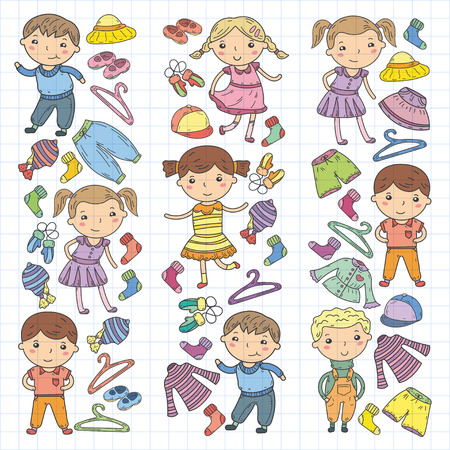 Set of children clothing. Vector icons. Kindergarten. Nursery. Atelier. School clothing. Summer clothing. Kids store