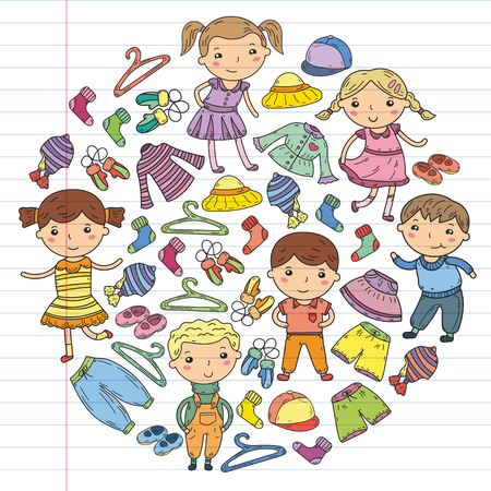 Set van kinderkleding. Vector iconen Stockfoto - 92180309