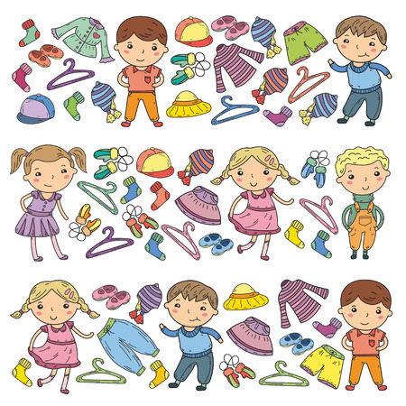 Set of kids clothing icon. Stock Illustratie