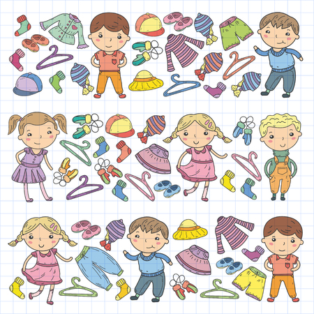 Set of Children clothing. Vector icons. Nursery Atelier  School clothing  Summer clothing  Kids store Illustration