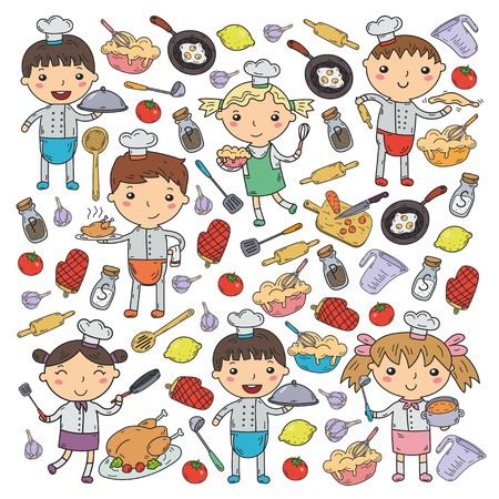 Cute kids chef on white background. Children cooking kitchen. Children cooking lessons
