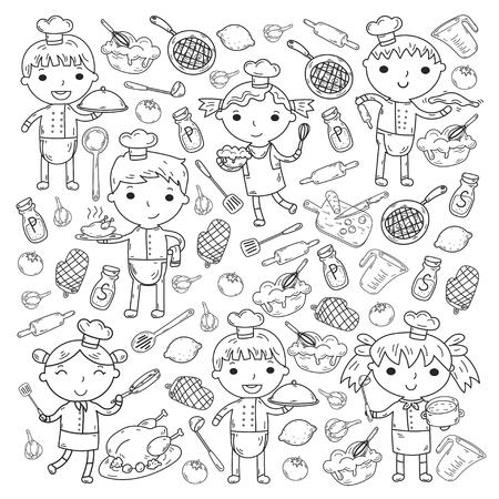 Cute Kids Chef Sobre Fondo Blanco Niños Cocinando Kitchen Children ...