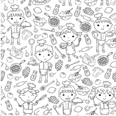 Cute Kids Chef on white background Children cooking Kitchen children Cooking lesson Coloring page