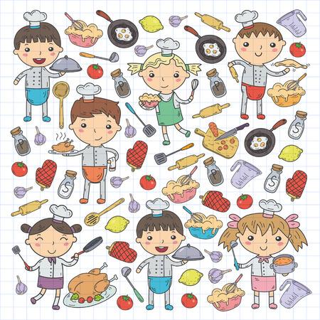 Cute Kids Chef on white background Children cooking Kitchen children Cooking lesson