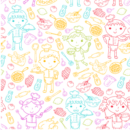 Cute Kids Chef on white background Children cooking Kitchen children Cooking lessons Seamless pattern