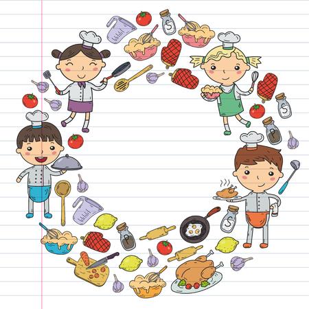 白い背景にかわいいキッズシェフ子供たちがキッチンの子供たちを調理するレッスン  イラスト・ベクター素材