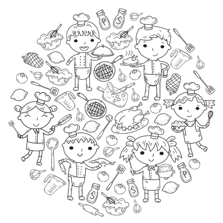 Cute kids chef on white background. Children cooking kitchen. Children cooking lessons.