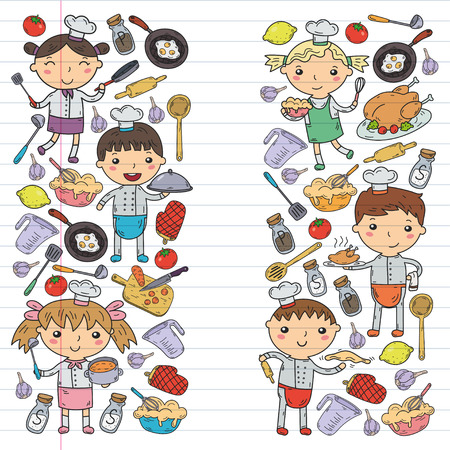 Cute Kids Chef on white background Children cooking Kitchen children Cooking lessons