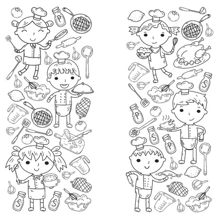 Cute Kids Chef on white background Children cooking Kitchen children Cooking lesson Coloring page Stock Vector - 92209342
