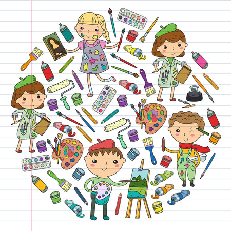 Children creativity kindergarten, school art. Boys and girls drawing and painting pictures. Children art and design school.